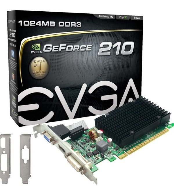 EVGA GeForce G210 1GB DDR3 VGA DVI HDMI PCI-E Graphics Card